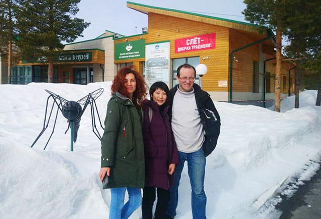 Первый приезд Юми Ватанабе в Югру. С Анной Логунович и Алексеем Казакевичем
